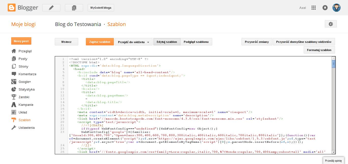 Jak edytować kod na Bloggerze