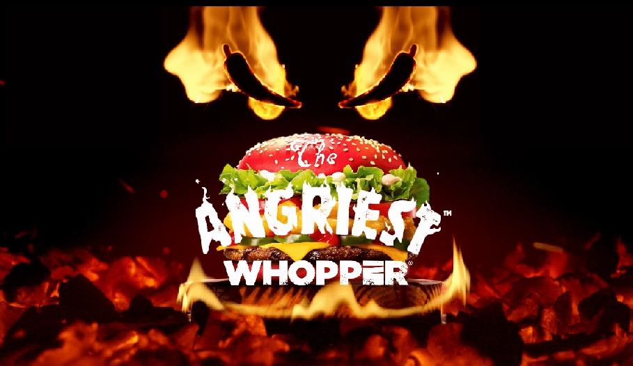 Wściekle ostry burger w czerwonej bułce od Burger King